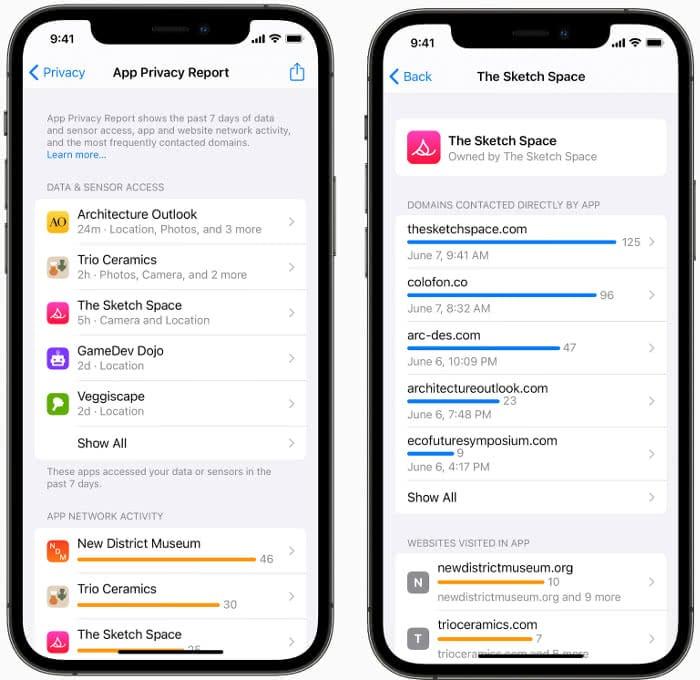 Datenschutzbericht über App-Aktivität