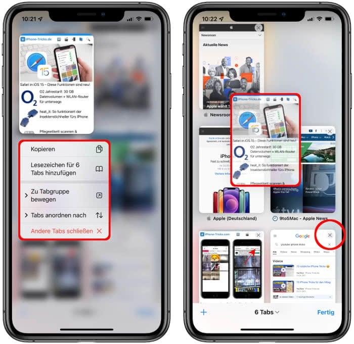 Kontextmenü öffnen, Reihenfolge der Tabs ändern und Tabs schließen in iOS 15