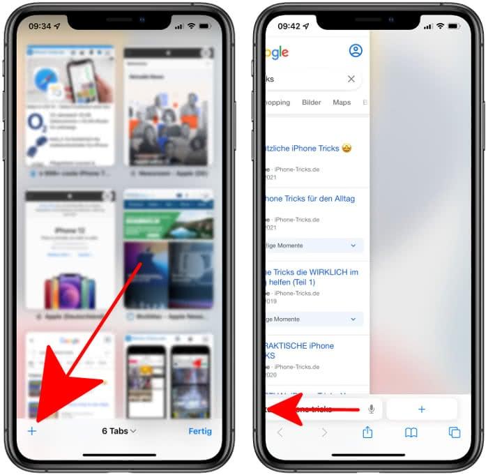 Neue Tabs öffnen in iOS 15