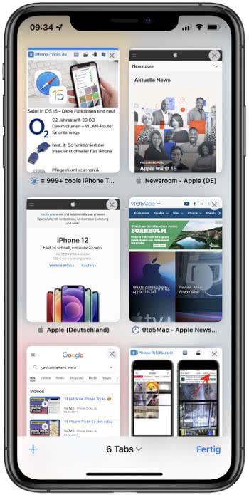 Neue Safari-Tabübersicht in iOS 15