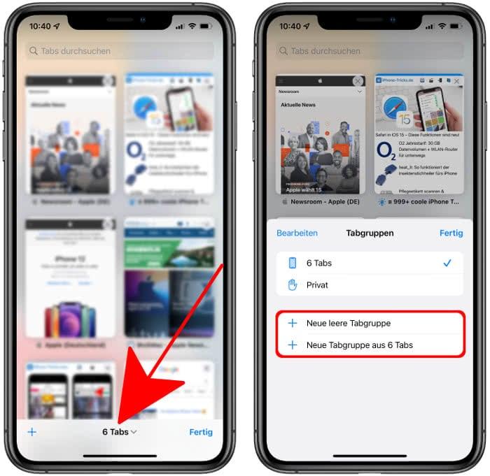 Tabgruppen erstellen in iOS 15