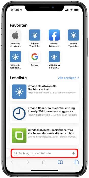 Safari-Tableiste in iOS 15