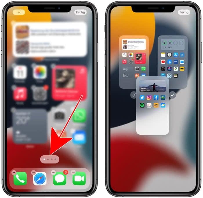 iPhone Homescreen-Seiten sortieren
