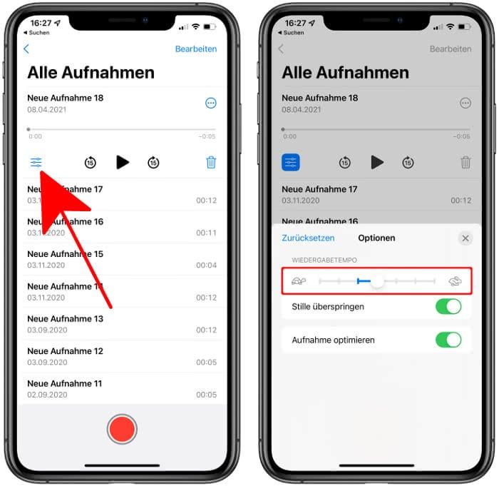 Wiedergabetempo von Aufnahmen in der Sprachmemos-App anpassen