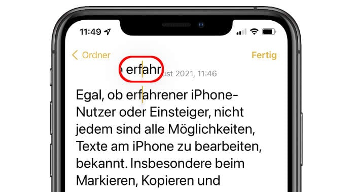 Text-Lupe in der Notizen-App