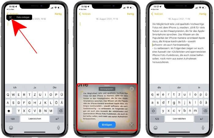 Texterkennung nutzen in der Notizen-App
