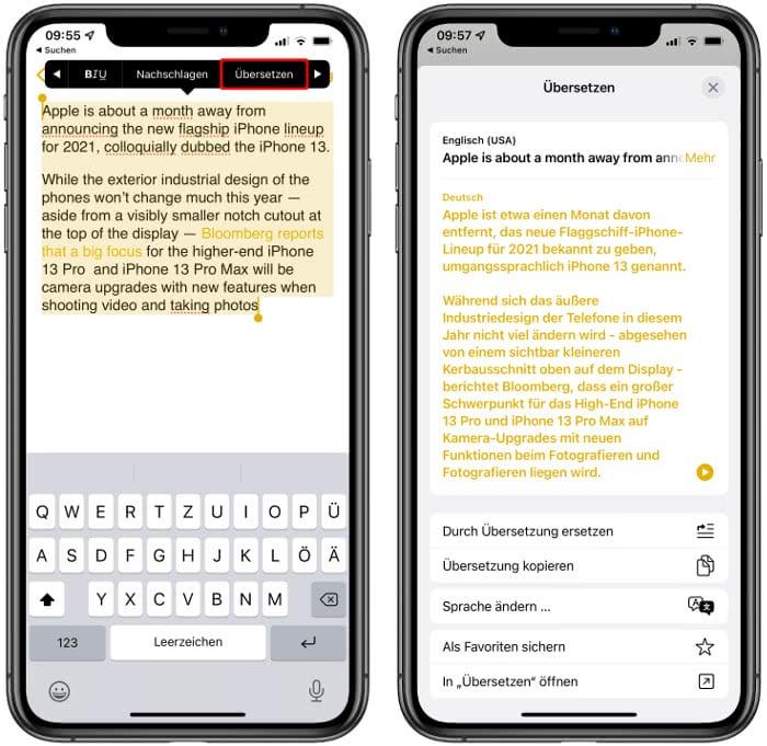 Übersetzung in der Notizen-App