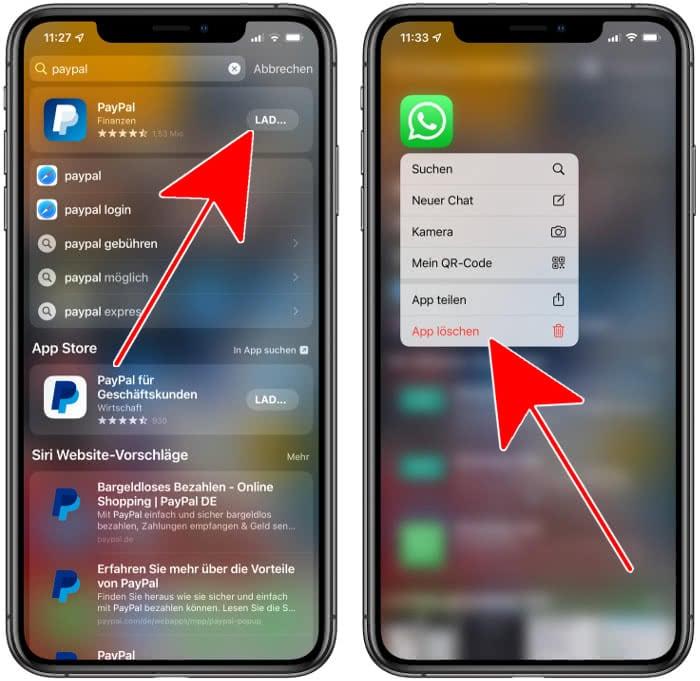 Apps herunterladen und löschen in Spotlight