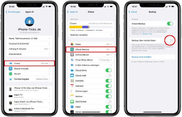 Backup über mobile Daten deaktivieren