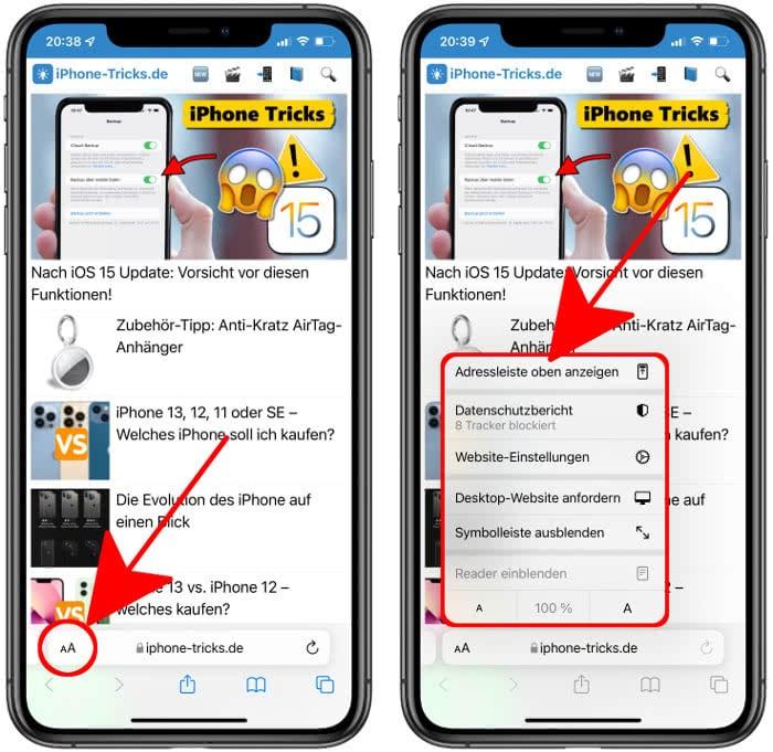 Safari-Adressleiste oben anzeigen in iOS 15
