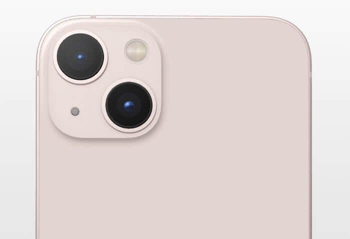iPhone 13 mit diagonaler Anordnung der Dual-Kamera-Linsen