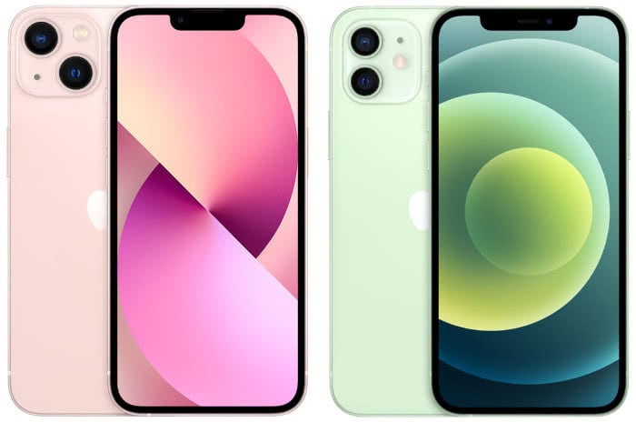 """iPhone 13 (links) mit deutlich kleinerer """"Notch"""" als das iPhone 12 (rechts)"""