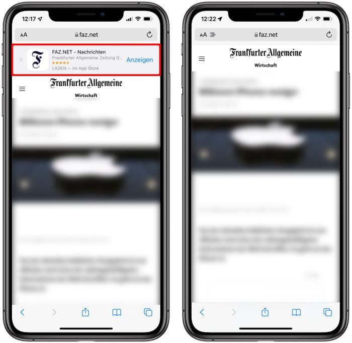 iPhone mit und ohne App-Banner